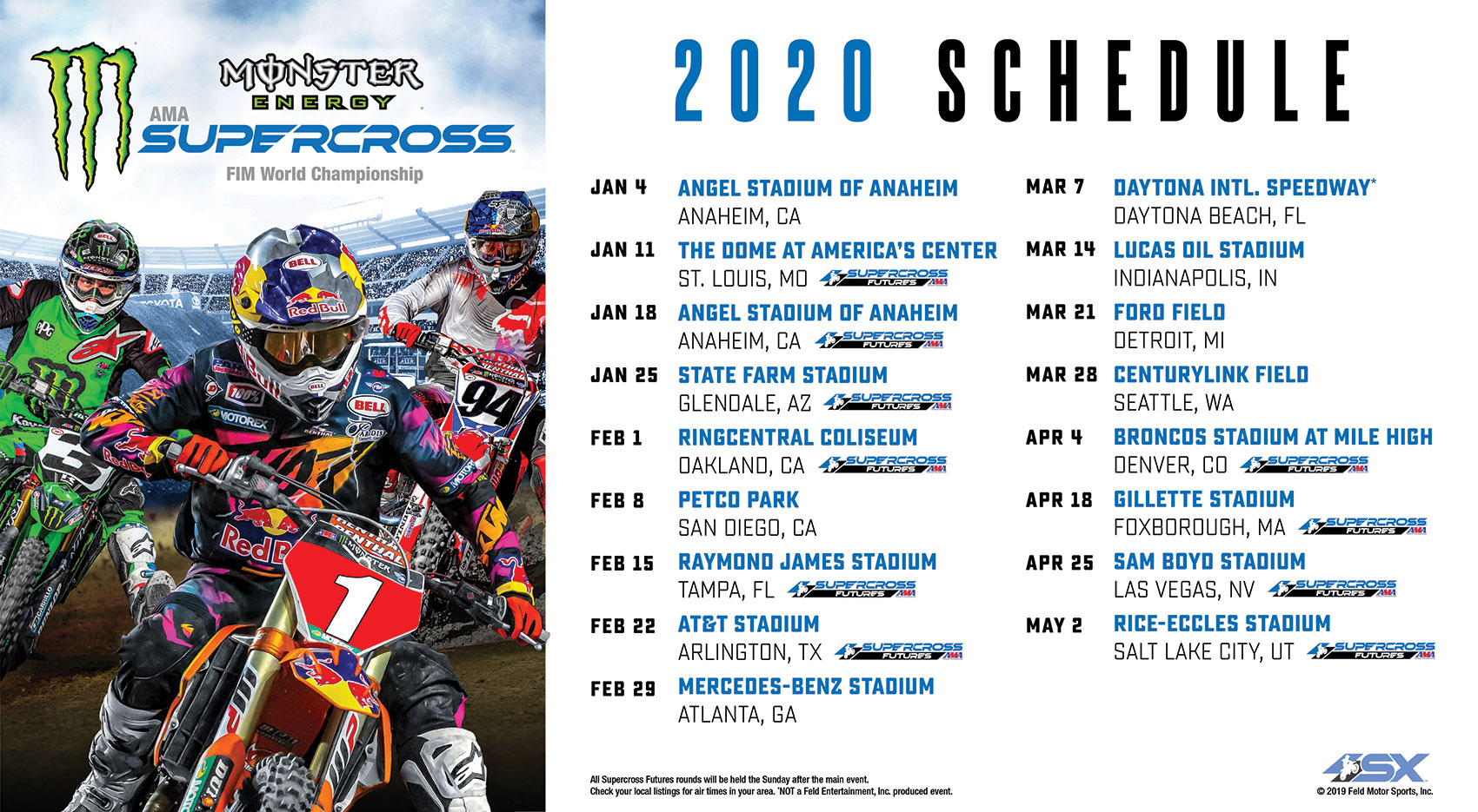 2020 Monster Energy Supercross Series Schedule   Swapmoto Live